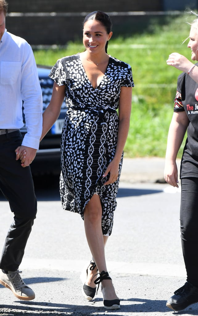 Meghan Markle Wearing Castañer Wedges and a Wrap Dress on the Royal Tour