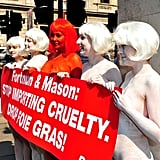 Foie gras is the target of the protest held by these nude women.