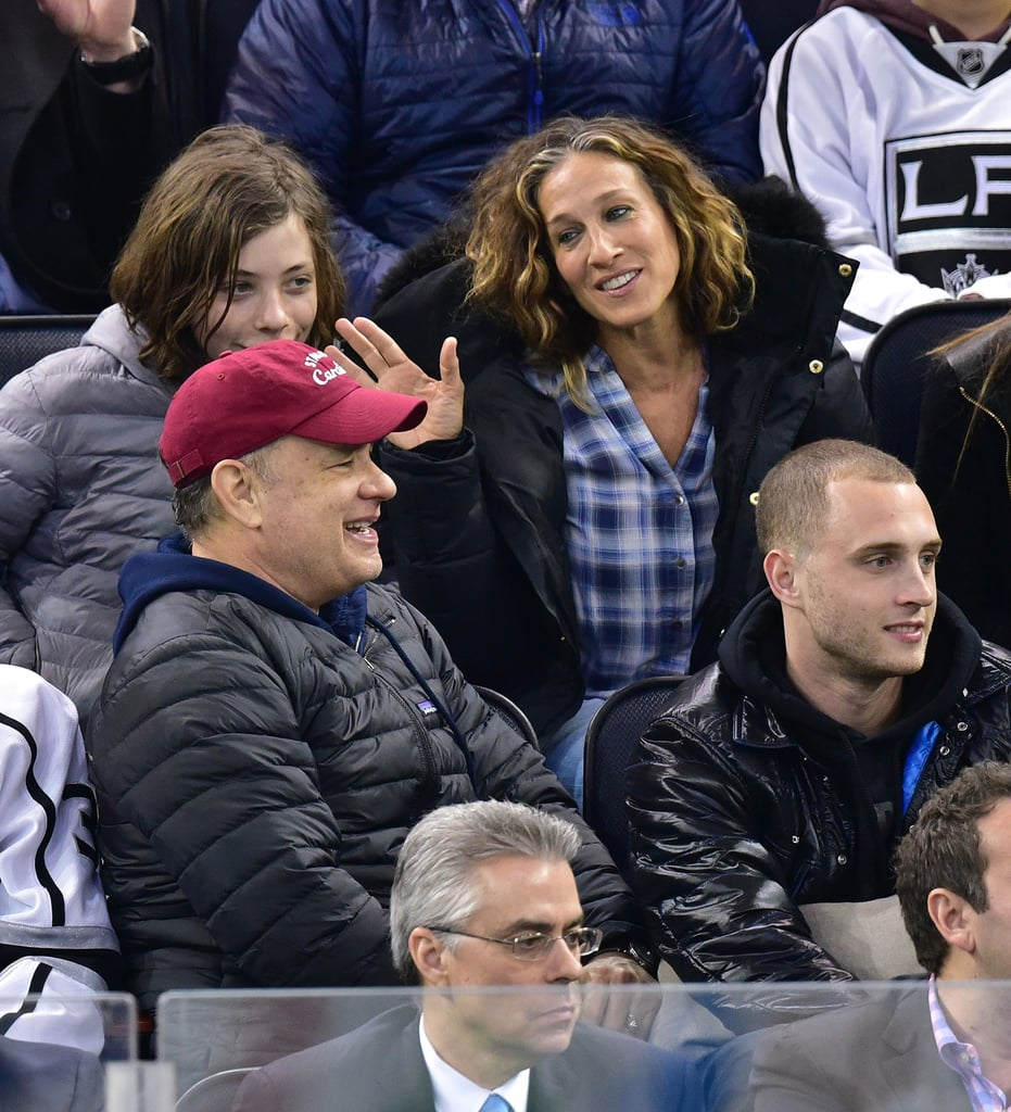 Sarah Jessica Parker sat behind Tom Hanks at the New York Rangers game on Tuesday, and at one point, she seemed to be less than entertained by Tom. The actress, who turns 50 this week, was photographed chatting with Tom at different points during the game, but in a Vine that's gone viral, she's seen giving him quite the dirty look. What could he have said to spark that reaction?! In any case, Tom looked to be enjoying himself alongside his sons Truman and Chet, and Sarah Jessica also kept herself entertained by diving into a book: Astonish Me by Maggie Shipstead. Check out the must-see Vine of SJP's viral look, then keep reading to see pictures of the A-list pair at the game, and be sure to bookmark some Carrie Bradshaw quotes to live by.