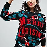 Club L Merry Christmas 3d Candy Cane Jumper