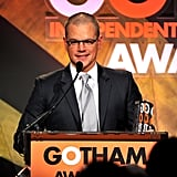Matt Damon picked up an award at the Gotham Independent Film Awards in NYC.