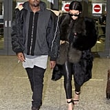 Kim Opted For Luxe, Furry Separates at the Airport