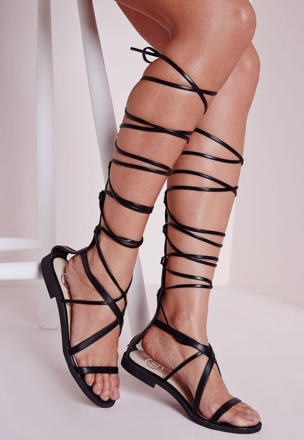 eb0f787e64af Missguided Flat Lace Up Gladiator Sandals