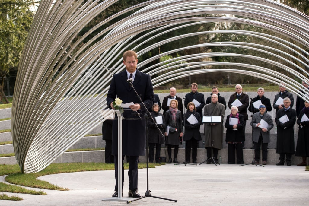 """Prince Harry paid tribute to the victims of the Tunisia attacks as he attended a memorial on Monday. The royal made a solo appearance in Birmingham as he attended a dedication ceremony of the official memorial. The memorial contains a sculpture called """"Infinite Wave,"""" which symbolizes the British nationals killed in the Bardo Museum attack in March 2015 and the Sousse attack in June 2015. During his visit, Harry spent some time with some of the families affected by the attacks as he chatted with them and took a few photos.  The somber appearance comes after Harry's trip to Morocco with Meghan Markle. In addition to a handful of couple moments, including Harry helping Meghan with her necklace and some sweet PDA, the two also proved they are going to be amazing parents as they bonded with young children during their trip. Though the couple hasn't disclosed whether they've having a boy or a girl, the mom-to-be reportedly told pals at her NYC baby shower that she's having a boy.      Related:                                                                                                           Everyone Else Can Go Home Now, Because 2019 Belongs to Prince Harry and Meghan Markle"""