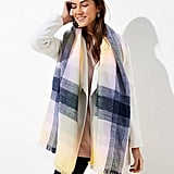 LOFT Ombre Plaid Blanket Scarf