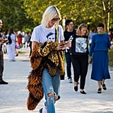 Keep Your Leopard Jacket at the Ready to Throw Over the Casual Jeans and Tee Combo