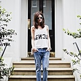 Wear a black-and-white printed tee for a subtle take on the trend.  Photo courtesy of Lookbook.nu
