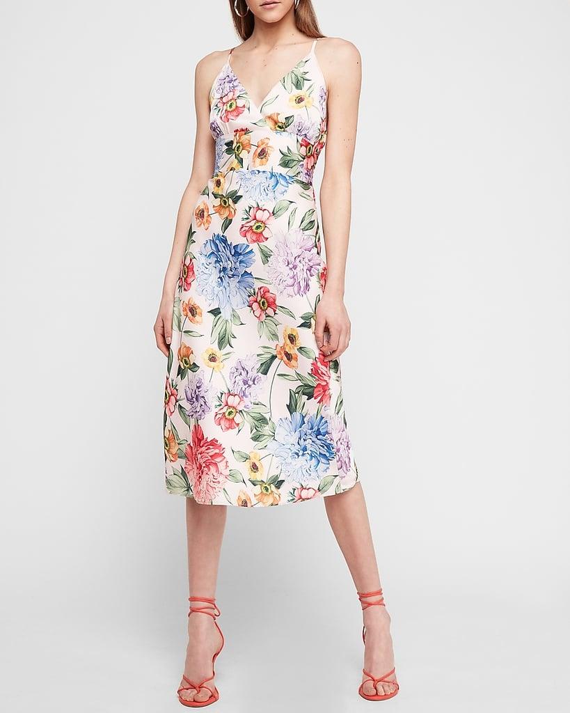 Satin Floral Midi Slip Dress