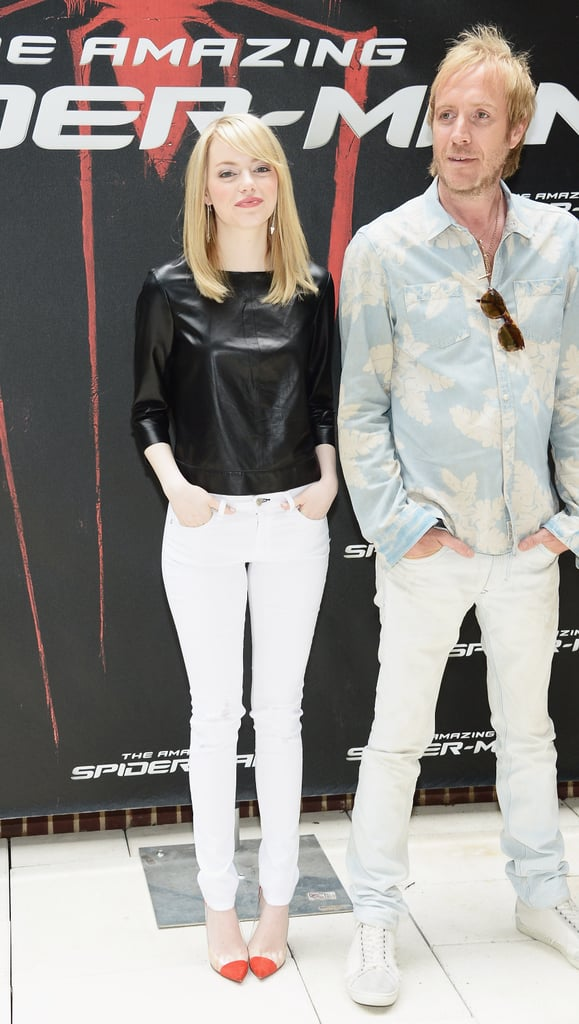 For the NYC photocall of The Amazing Spider-Man, Emma opted for laid-back minimalism, and of course, we're totally in love with her look. She paired a black J Brand leather top with crisp white Rag & Bone skinny jeans, the souped it up with Christian Louboutin's coveted Un Bout pumps.