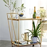 E2 Concept Metal Mirrored Rolling Bar Cart