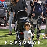 Gisele Bündchen had her hands full, pushing baby Vivian Brady and son Benjamin Brady while at a party at a local NYC park on Saturday.
