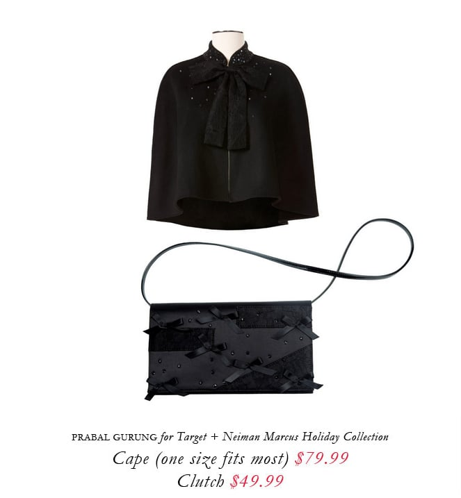 Prabal Gurung designed a wool cape and a bow-clad clutch for the Target + Neiman Marcus holiday collection.