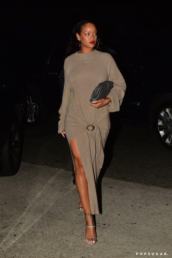 Rihanna Wearing a Brown Sweater Dress in LA