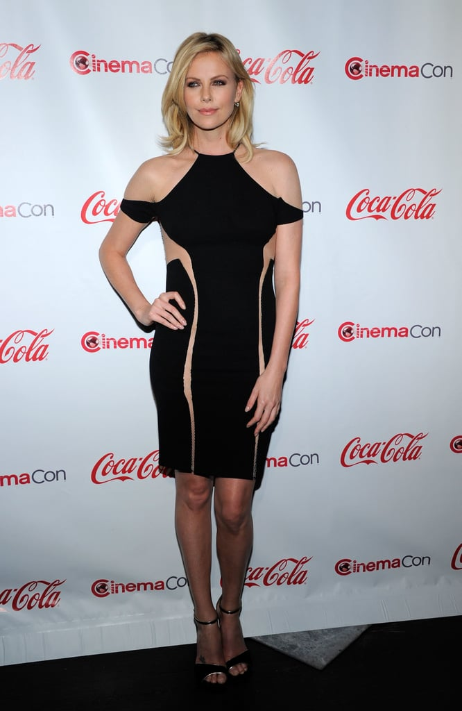 Charlize wore a sexy, nude-paneled LBD at the CinemaCon Awards in April 2012.