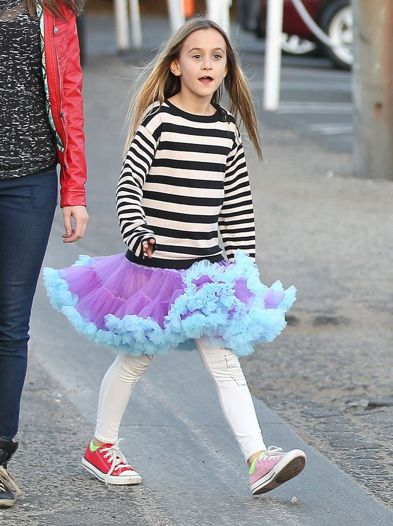 Coco Arquette sported mismatched Converse sneakers.
