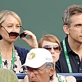 Ben Stiller and Christine Taylor were at the BNP Paribas Open.