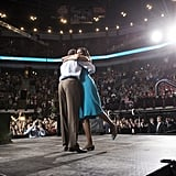 """During a May campaign event in Columbus, OH, Barack and Michelle embraced — romantic """"foot pop"""" and everything."""