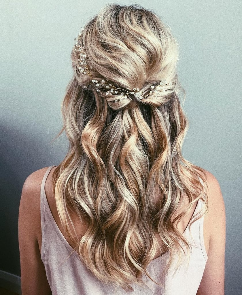 half up half hair style half up wedding hair ideas popsugar 2148
