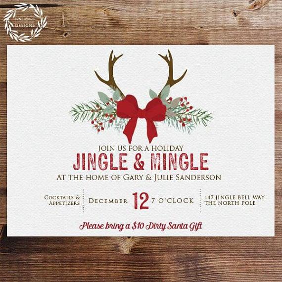 jingle mingle holiday party invitation printable holiday party
