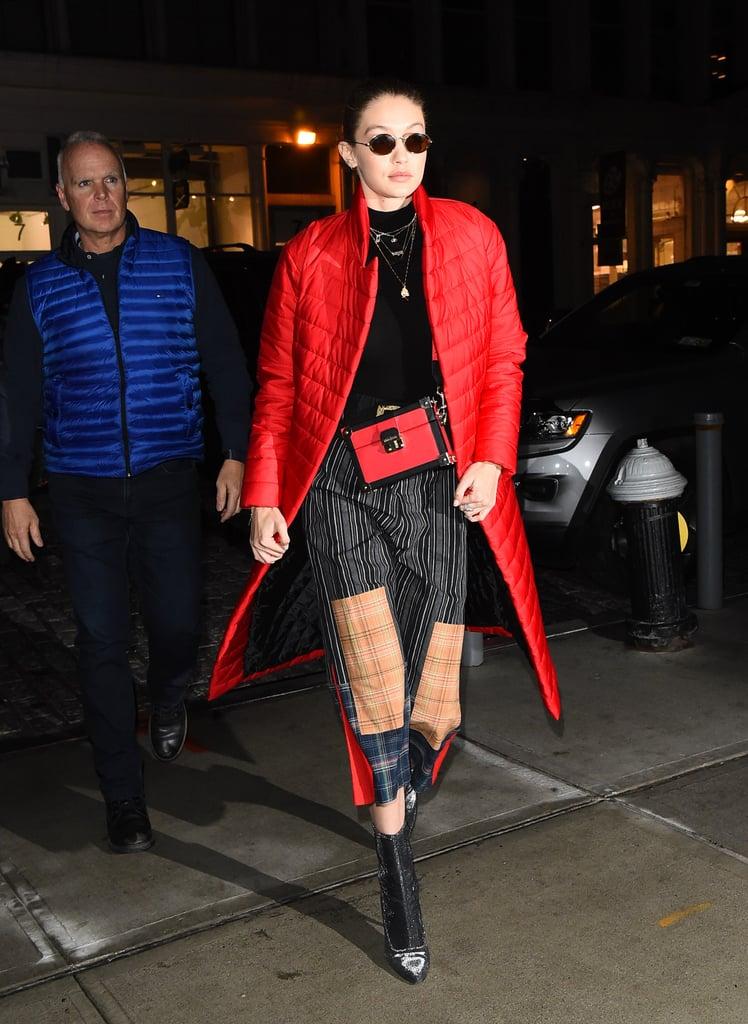 Gigi Hadid Wearing Plaid Pants