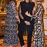 Kate wore a bespoke version of an Erdem dress while chatting with Anna Wintour at the Commonwealth Fashion Exchange initiative at Buckingham Palace in February. She paired the dress with Prada suede heels and Anita Dongre pearl earrings.