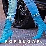 Hailey Baldwin Blue Yeezy Boots