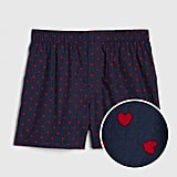 Blue Heart Print Boxers