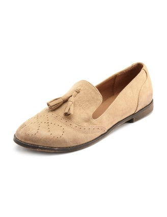 Tasseled loafers prove to be stylish slip-ons for Spring. Charlotte Russe Tassel-Front Sueded Loafer ($29)