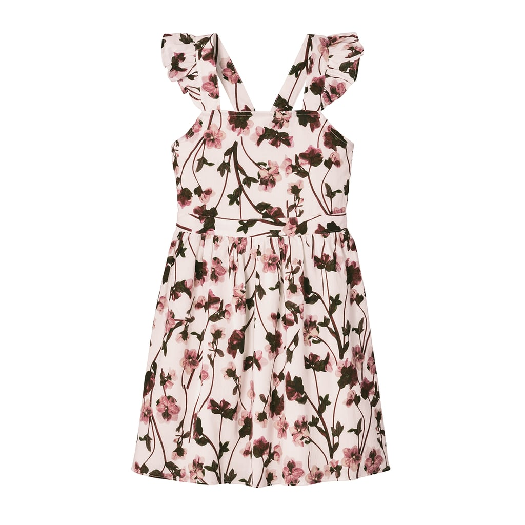 Girls' White Ruffle Strap Pressed English Floral Dress ($25)