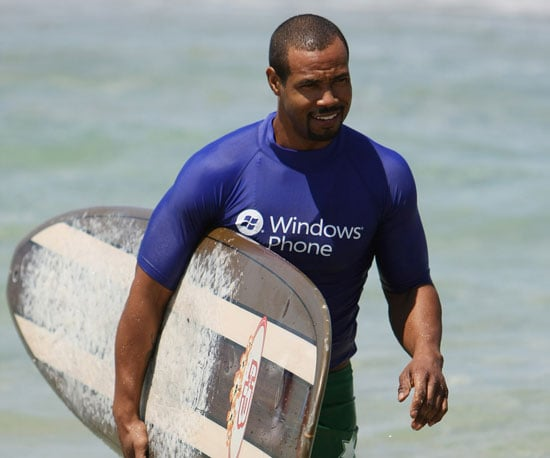 Slide Picture of Old Spice's Isaiah Mustafa Surfing in Sydney