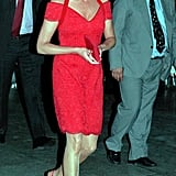 Princess Diana wore a Catherine Walker red dress with matching Jimmy Choo flat pumps for a dinner honoring Catherine in 1995.