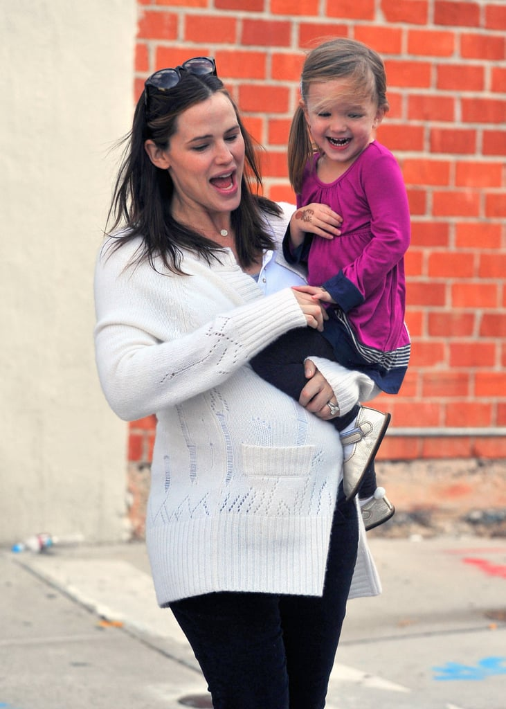 """Jennifer Garner and Seraphina shared a laugh as they shopped around Santa Monica this afternoon. The duo are among the many celebrities getting ready for the holidays, and they were spotted out in festive gear over the weekend. The Garner-Afflecks' year was full of happy moments, and they have even more exiting things to come. Jennifer is expecting her third child, which just might be one of the biggest headlines of 2011, but for now she's focused on her current foursome. Jennifer told InStyle that she wouldn't trade motherhood for anything and that she """"would do anything"""" for Ben."""