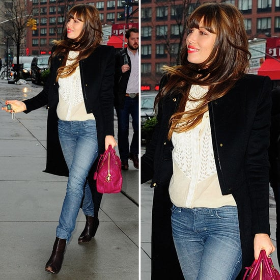 Jessica Biel showed off a sharp Winter coat — and a ladylike berry-hued satchel.