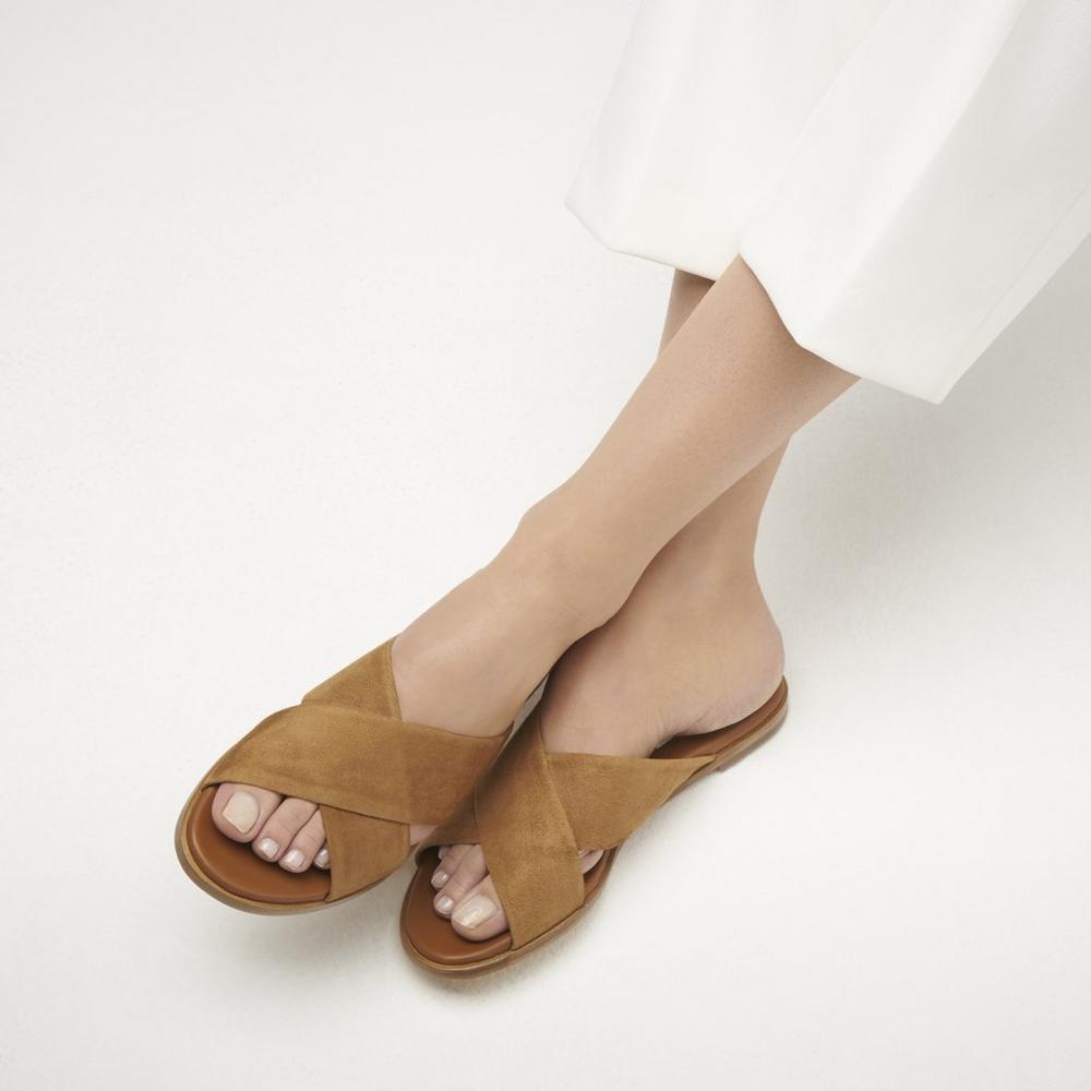 LK Bennett Elianna Tan Suede Flat Sandals