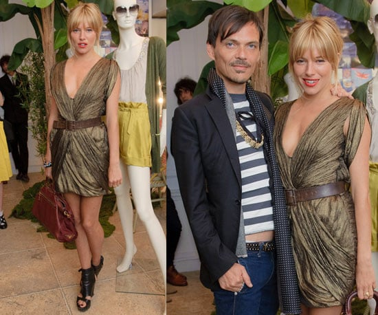 Sienna Miller Wears Gold Metallic Dress and Maroon Prada Bag at Matthew Williamson Party in London