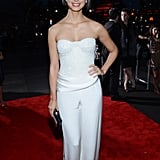 Morena Baccarin posed in a white pantsuit.