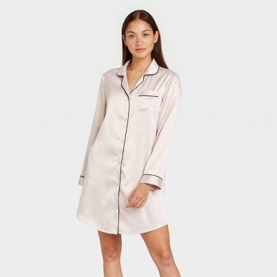 Satin Notch Collar Nightgown
