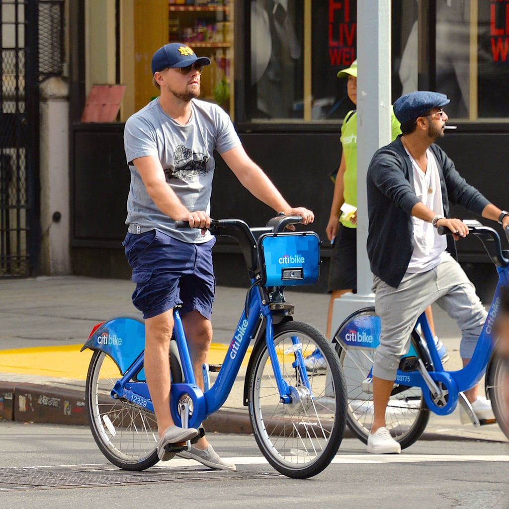 Leonardo DiCaprio Riding Bikes With Friends in NYC