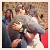 We caught Total Recall costars Jessica Biel and Bryan Cranston sharing a sweet embrace on the press line for the film.