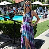 The cool colors of a tie-dye Lovers + Friends dress were highlighted with mirrored sunglasses.
