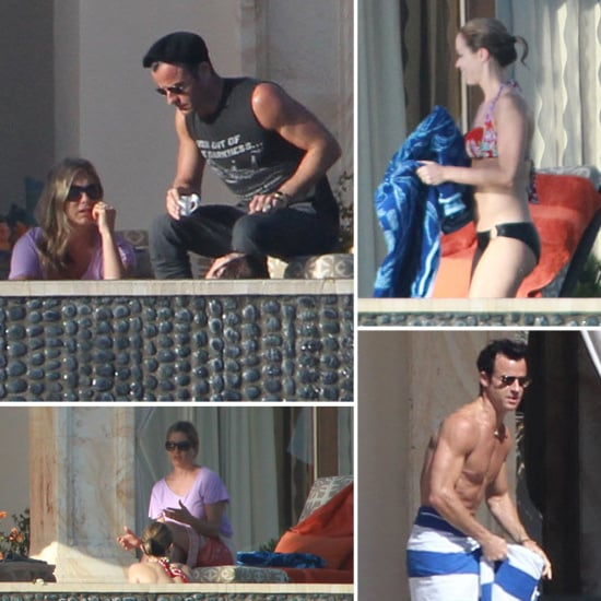 Jennifer Aniston Covers Up To Chat With A Bikini-Wearing Emily Blunt