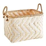 Natural and White Bamboo Basket