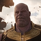 Thanos (Josh Brolin) (and his bizarre chin folds) looks even more menacing than usual. He also looks vaguely like Homer Simpson, but that's neither here nor there.