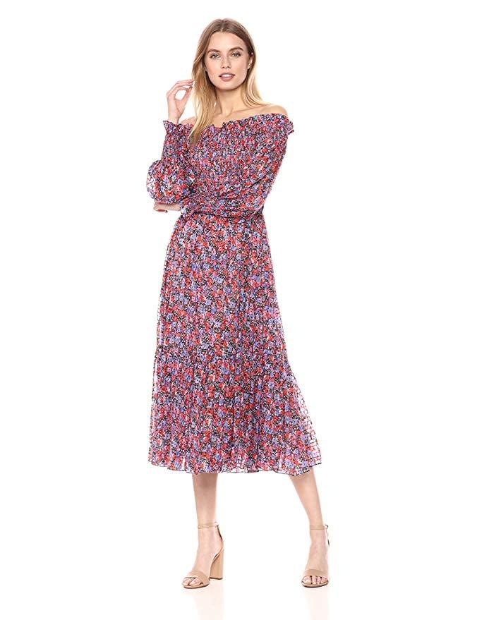 Rebecca Taylor Off-Shoulder Cosmic Floral Dress