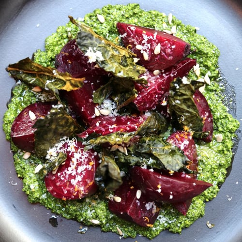 Roasted Beets With Kale Pesto