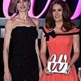 Queen Letizia Giving Salma Hayek a Premios Woman Award 2015