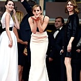 Emma Watson blew a kiss to fans on the red carpet at the premiere of The Bling Ring in 2013.