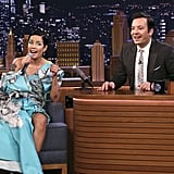 Halsey Wore an Overlapping Maxi Dress on The Tonight Show