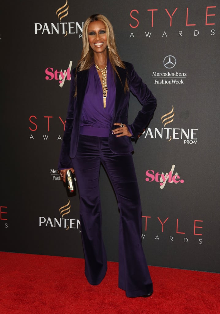 Iman hit the Style Awards red carpet in a plum-hued suit.