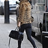 We love how Kate added sleek accessories to her leopard look.